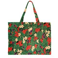 Berries And Leaves Large Tote Bag
