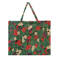 Berries And Leaves Zipper Large Tote Bag