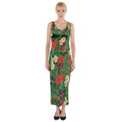 Berries And Leaves Fitted Maxi Dress
