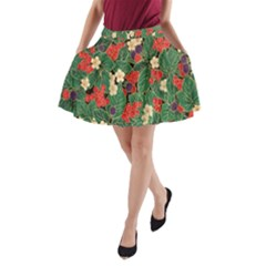 Berries And Leaves A-Line Pocket Skirt
