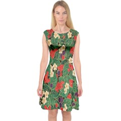 Berries And Leaves Capsleeve Midi Dress