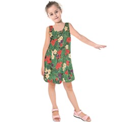 Berries And Leaves Kids  Sleeveless Dress