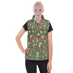 Berries And Leaves Women s Button Up Puffer Vest