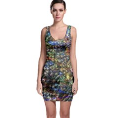 Multi Color Peacock Feathers Sleeveless Bodycon Dress