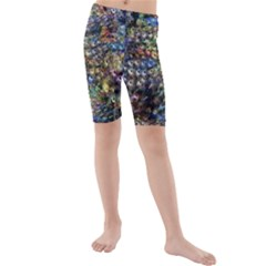 Multi Color Peacock Feathers Kids  Mid Length Swim Shorts