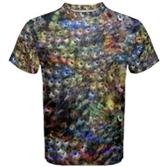 Multi Color Peacock Feathers Men s Cotton Tee