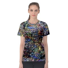 Multi Color Peacock Feathers Women s Sport Mesh Tee