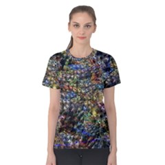 Multi Color Peacock Feathers Women s Cotton Tee