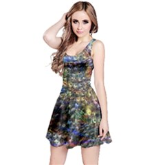 Multi Color Peacock Feathers Reversible Sleeveless Dress