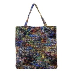 Multi Color Peacock Feathers Grocery Tote Bag