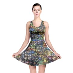 Multi Color Peacock Feathers Reversible Skater Dress