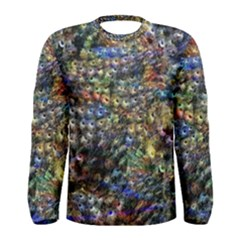Multi Color Peacock Feathers Men s Long Sleeve Tee