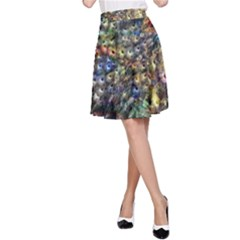 Multi Color Peacock Feathers A-Line Skirt