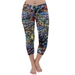 Multi Color Peacock Feathers Capri Winter Leggings