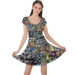 Multi Color Peacock Feathers Cap Sleeve Dresses