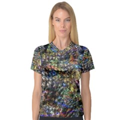 Multi Color Peacock Feathers Women s V Neck Sport Mesh Tee