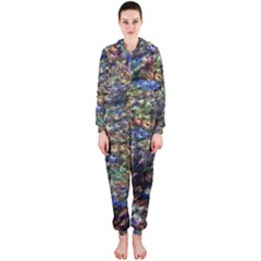 Multi Color Peacock Feathers Hooded Jumpsuit (Ladies)