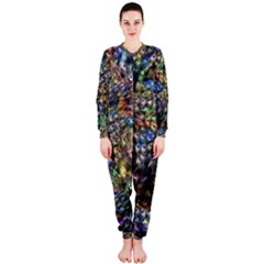 Multi Color Peacock Feathers OnePiece Jumpsuit (Ladies)