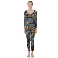 Multi Color Peacock Feathers Long Sleeve Catsuit