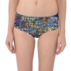 Multi Color Peacock Feathers Mid-Waist Bikini Bottoms