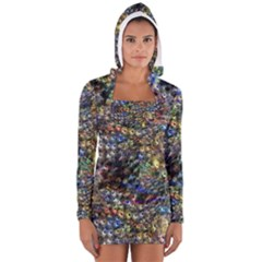 Multi Color Peacock Feathers Women s Long Sleeve Hooded T Shirt