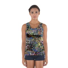 Multi Color Peacock Feathers Women s Sport Tank Top