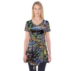 Multi Color Peacock Feathers Short Sleeve Tunic