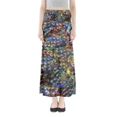 Multi Color Peacock Feathers Maxi Skirts