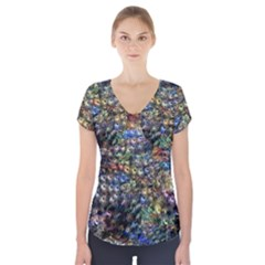 Multi Color Peacock Feathers Short Sleeve Front Detail Top