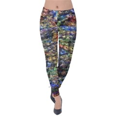 Multi Color Peacock Feathers Velvet Leggings