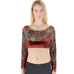Red Gold Black Background Long Sleeve Crop Top
