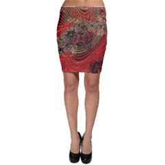 Red Gold Black Background Bodycon Skirt