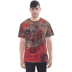Red Gold Black Background Men s Sport Mesh Tee