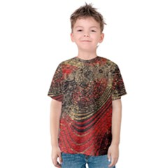 Red Gold Black Background Kids  Cotton Tee