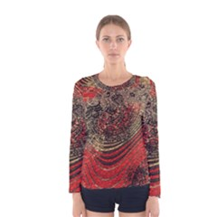 Red Gold Black Background Women s Long Sleeve Tee