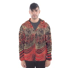Red Gold Black Background Hooded Wind Breaker (men)