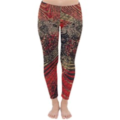 Red Gold Black Background Classic Winter Leggings