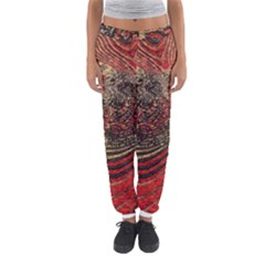 Red Gold Black Background Women s Jogger Sweatpants