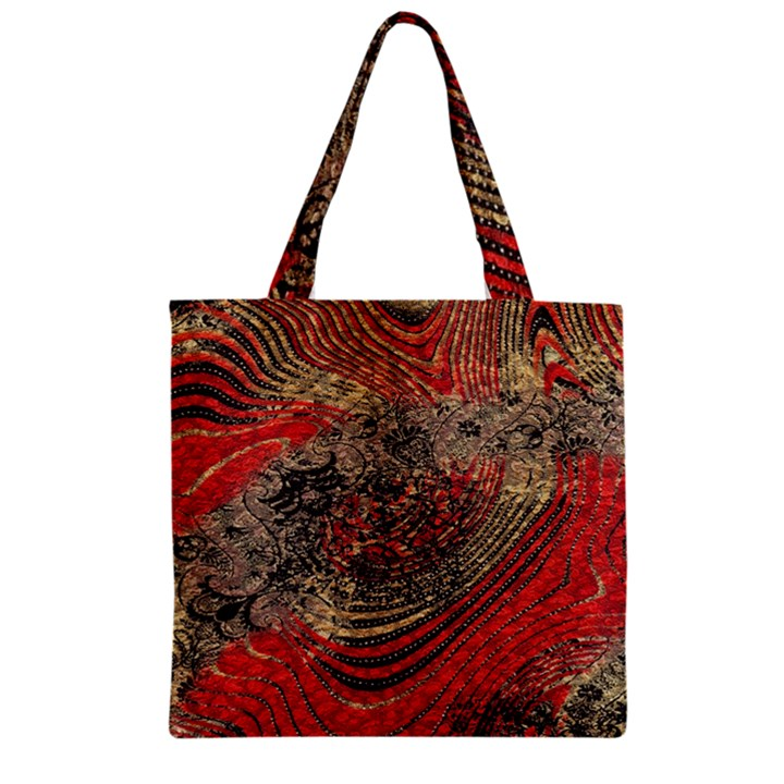 Red Gold Black Background Zipper Grocery Tote Bag