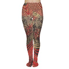 Red Gold Black Background Women s Tights