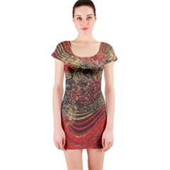 Red Gold Black Background Short Sleeve Bodycon Dress