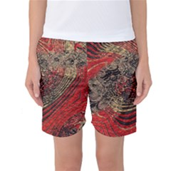 Red Gold Black Background Women s Basketball Shorts