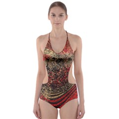 Red Gold Black Background Cut-Out One Piece Swimsuit