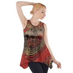 Red Gold Black Background Side Drop Tank Tunic