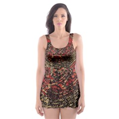 Red Gold Black Background Skater Dress Swimsuit