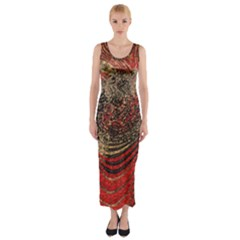 Red Gold Black Background Fitted Maxi Dress