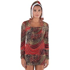 Red Gold Black Background Women s Long Sleeve Hooded T Shirt