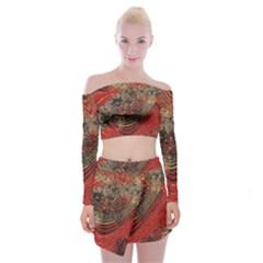 Red Gold Black Background Off Shoulder Top With Skirt Set