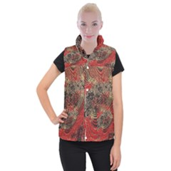 Red Gold Black Background Women s Button Up Puffer Vest