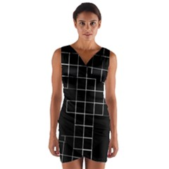Abstract Clutter Wrap Front Bodycon Dress